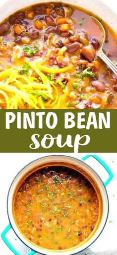 PINTO BEAN SOUP Pinto Bean Soup – chunky, hearty and flavorful, very simple to make and great for lunch or dinner. Adding bacon to this Pinto Bean Soup enhances the flavor and makes the soup super filling, so you can call it a meal. Canned Beans Recipe, Pinto Bean Soup, Healthy Soup, Healthy Recipes, Pinto Bean Recipes, Vegan Pinto Bean Recipe, Pinto Bean Chili Recipe, Recipes, Eating Clean