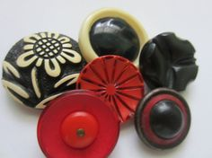 Vintage Buttons  Lot of 6  buffed celluloid by pillowtalkswf, $8.95