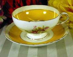 Rosina Bone China Tea Cups | Vintage Yellow Rosina Tea Cup English Bone China Pretty Flowers Signed