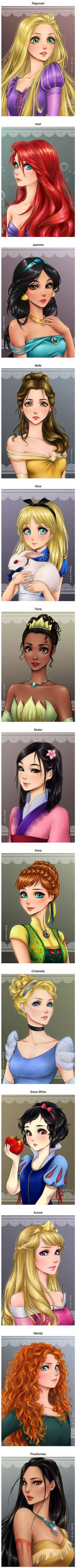 This is what Disney princesses would look like if they were anime characters (By Jasmine Mari945)