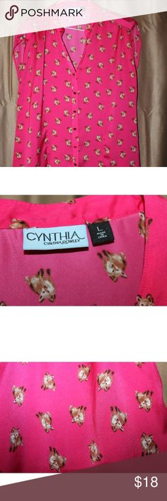 Cynthia Rowley Pink Fox Print Blouse Beautiful Cynthia Rowley silk,  pink fox print blouse with roused capped sleeves. Size large. Cynthia Rowley Tops Blouses