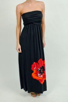 Black Floral Border Dress www.shopmapel.com