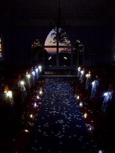 Night wedding isle lit up with fairy lights instead of flowers! :)