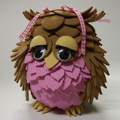 Wat een schatje! Uil gemaakt van rubber foam. Handmade Toys, Handmade Crafts, Diy And Crafts, Foam Crafts, Paper Crafts, Mother Painting, Foam Paint, Clay Jar, Pintura Country