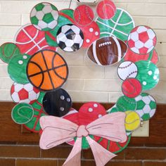 Sports wreath. Sports Theme Birthday, Sports Wreaths, Door Wreaths, Fathers Day, Baby Shower, Door Hangers, Holiday Decor, Party, Crafts