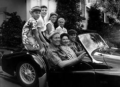 1957 - Art Linkletter and family at home in his son's Triumph Triumph Motor, Triumph Tr3, Art Linkletter, Classic Vespa, Hollywood Hills Homes, Great Movies, Picture Photo, Rock Hudson, Movie Stars