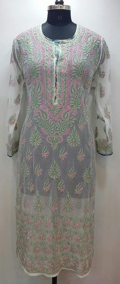 Lucknow Chikan Online Kurti White Faux Georgette $31.5