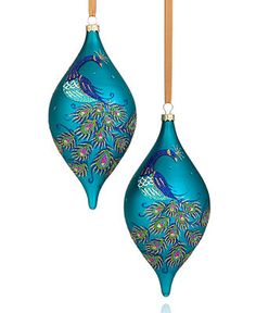 Holiday Lane Set of 2 Peacock Drop Ornaments - Holiday Lane - Macy's Pretty as a peacock! This set of glass ornaments makes for a lively addition to your Christmas tree, with bright blue tones and a shapely silhouette. Christmas Ornament Sets, Noel Christmas, Holiday Ornaments, Christmas Tree Ornaments, Vintage Christmas, Christmas Crafts, Holiday Decorations, Xmas Tree, Peacock Christmas Tree
