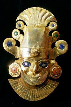 Máscara Inca de oro. Es muy popular en la cultura de Peru.