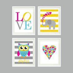 Set of Four Prints for Kids Room, Nursery, Home Decor - 8x10 - LOVE, Elephant, Owl, Heart - Aqua, Hot Pink, Yellow, Grey OR Choose Colors. $52.00, via Etsy.