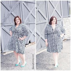 @Emily Sandford  in Faux Wrap Houndstooth Dress via Gwynnie Bee