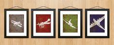 Vintage Airplane Aviation Print Series Wall Decor - Childs Room Nursery Wall Art. $40.00, via Etsy.