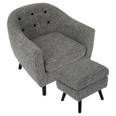 Rockwell Mid - Century Modern Chair With Noise Fabric - Ottoman Included - Dark Grey - Lumisource
