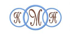 INSTANT DOWNLOAD Three Ring Circle 5x7 Hoop Machine Embroidery Monogram Font Design Set on Etsy, $16.50