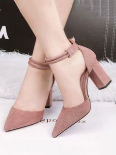 Solid Color Pumps Line-Style Buckle Pointed Toe Chunky Heels Lace Up Heels, Black Heels, Pumps Heels, Stiletto Heels, Burgundy Heels, Sandal Heels, Strappy Shoes, Heeled Sandals, Low Heels