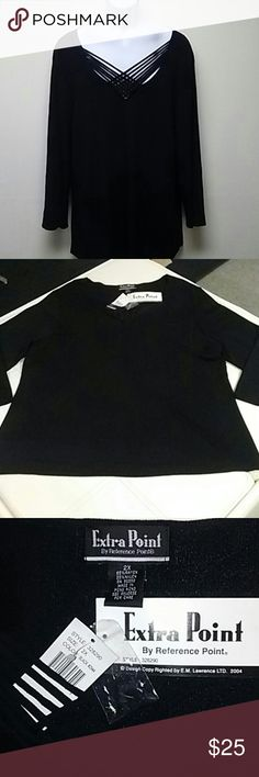 NWT 1pc Black long sleeve blouse top Beautiful 1pc Black long sleeve blouse top 65%rayon 35%nylon Extra Point Tops Blouses