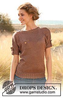"""Strikket DROPS bluse med brystlomme og ærmestrop i """"Cotton Viscose"""". Str S - XXXL. ~ DROPS Design"""