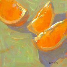 """Orange Slices, 6x6, oil on panel"" - Original Fine Art for Sale - © Ginny Butcher"