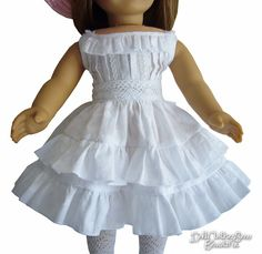 "White Cotton Sun Dress Ruffles for 18"" American Girl Doll Clothes Beautiful!"