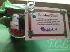 Reindeer Food aka Reindeer Dust.  We have been making this for years, or should I say Mimi has been making this for years!  It is a great tradition for the kids!