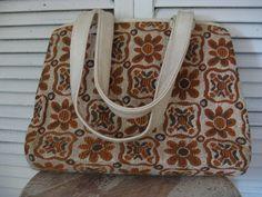mod 1960s handbag hippie boho ethnic designs orange brown cream. $35.00, via Etsy.