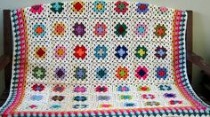Crochet Granny Square Afghan Blanket Cottage Chic by Thesunroomuk