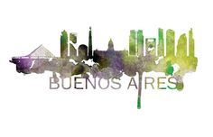 Buenos Aires Skyline Watercolor Art Print by DreamMachinePrints