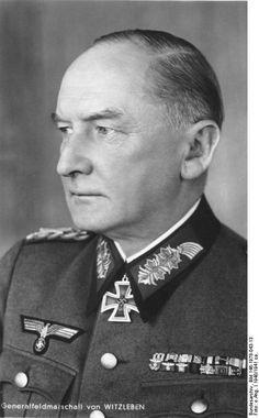 Generalfeldmarschall Job Wilhelm Georg Erdmann Erwin von Witzleben (4 December 1881 – 8 August 1944) conspirator in the 20 July plot. On Hitler's orders he was hanged with a thin hemp rope. Knight's Cross of the Iron Cross on 24 June 1940 as Generaloberst and commander of 1. Armee