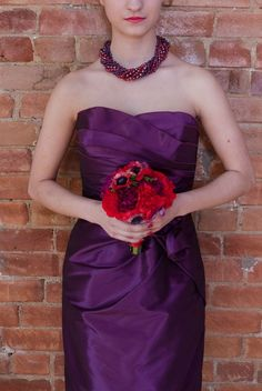 Purple Maid honor dress with red flowers! Minus the necklace- that's a bit too chunky.