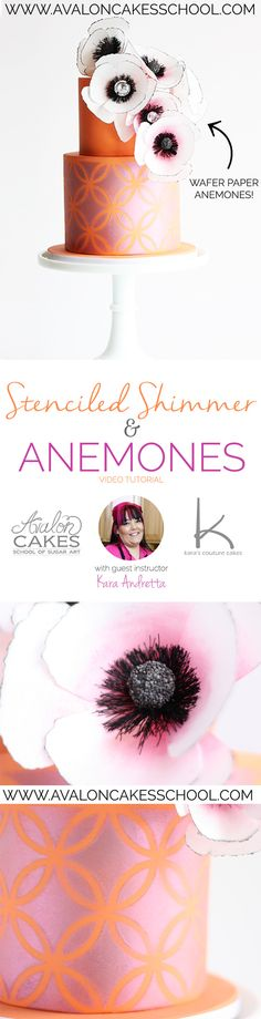 Stenciled Shimmer & Anemones video tutorial! Watch this tutorial and make this beautiful cake for your next event! Click through for more information!