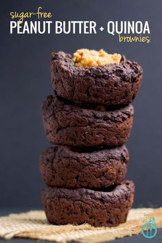 Peanut Butter Quinoa Brownies [sub maple sugar or coconut palm sugar for the Stevia! <-- not natural.]