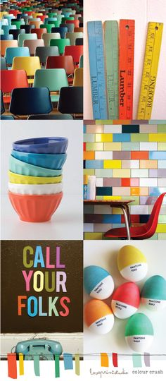 Heres a lovely little colour crush post for you this Friday with a happy, shiny, bright, retro feel...         (image credits - clockwise f...