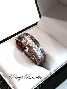 High Quality in Style Women's and Men's Tungsten Rings   6mm& 8mm mm Personalized Yellow Gold Meteorite Inlay Tungsten Wedding Band.  Engraving: If you want your personal note to be engraved on the ring you are ordering, please let me know when you place an order in the note and put your personal text in the quote marks. Up to 15 characteristics are FREE of cost.  Discover for yourself unique and masculine qualities of Tungsten Carbide Wedding Bands and Fashion Rings. Tungsten is the hard...