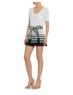 Derek Lam 10 Crosby Fringe Tie Belted Tweed Skirt
