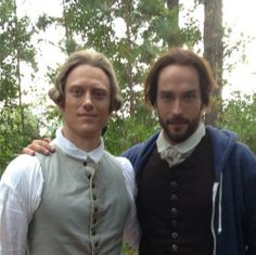 """Neil Jackson as old friend Abraham with Tom Mison as Ichabod Crane (with a hoodie) from the TV Show """"Sleepy Hollow""""."""