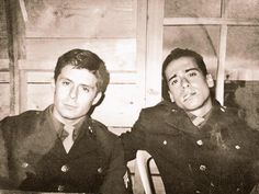 Rick Gomez and Kirk Acevedo on set of Band of Brothers