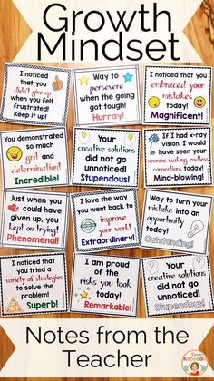 Growth Mindset: Notes from the Teacher - Do you teach your students about growth mindset? These notes from the teacher are the perfect complement to my other growth mindset products, including affirmation posters, flip books, and a growth mindset privacy office! Easy to use for teachers and very beneficial for students, these rewarding notes will reinforce your students for incorporating growth mindset concepts into their daily lives.