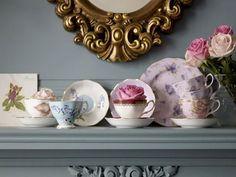 selina lae, gold, vintage, porcelain, grey walls, dark, blue, roses, rose, romantic decoration, flowers, victorian, pink,