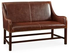 Swooning over this BrownLeather Settee. Neeeeed.