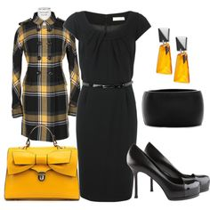 black and yellow work outfit- black short sleeve dress, black/yellow plaid coat and black high heel shoes
