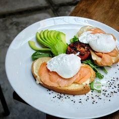 Food Blog Bali  #Food: Smoked Salmon Smørrebrød #Delicious: 3.5/5 #Foodcious: Buttered & Toasted Rye Bread Top with Mustard Sour Cream Smoked Salmon Sliced Avocado & Poached Eggs on bed of Rocket Leaves    @livingstonebakery Rp 78k  Jl. Petitenget 88    #Breakfast #healthyfood