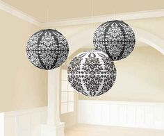 "Black Damask Paper Lanterns | 3pc, 9.5"" for $8.50 in Decorations"