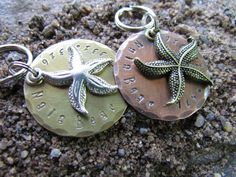 Large Pet Tag  Collar Tag  Starfish Pet Tag  ID by themadstampers
