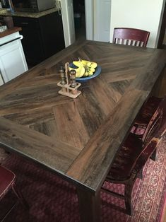 Vinyl peel and stick planks on table top for durability. Style Sections Antique Woodland Oak. Just $1/sqft