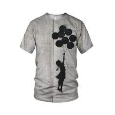 "Flying Baloons Girl, from the collection of ""Hand Printed"" Designs by the prolific street artist known as ""Banksy"".   More Designs and Styles on the Store: http://www.globalmusicollective.com/store/?product_cat=banksy"