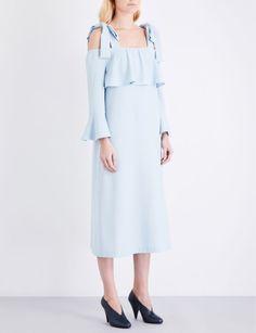 GANNI - Clark stretch-crepe cold-shoulder dress | Selfridges.com Framed Fabric, Crepe Fabric, Stretches, Bell Sleeves, Cold Shoulder Dress, Style Inspiration, June, Dresses, Wedding