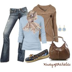 """""""Blue and Brown Plaid"""" by kaseyofthefields on Polyvore"""