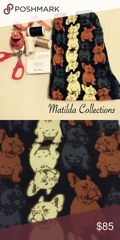 LulaRoe French Bull dog OS Leggings New. Black background with prints of French bulldog in brown, light yellow and gray. Made in Vietnam, fits size 2-10. LuLaRoe Pants Leggings