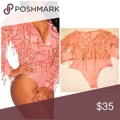 🆕🆕🎉🎉Flowing Sequins  bodysuit Material : 95%Polyester  5%Spandex flowing pink and gold sequins lined at bust and sheer back, long sheer sleeves. Thong bottom with snap-button Pants Jumpsuits & Rompers