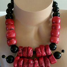 Coral and Black Onyx....#handmadejewelry #handmade #blackonyx #beadedjewelry #beadednecklace #jewelry #beadedaccessories #fashionjewelry #fashion #chicnecklace #chic #style #necklaces #neckgame #fashion #statementnecklace #chunkynecklace  #bold #boldandbeautiful #redandblack #etsyshop #neckcandy #etsy #coralbeads